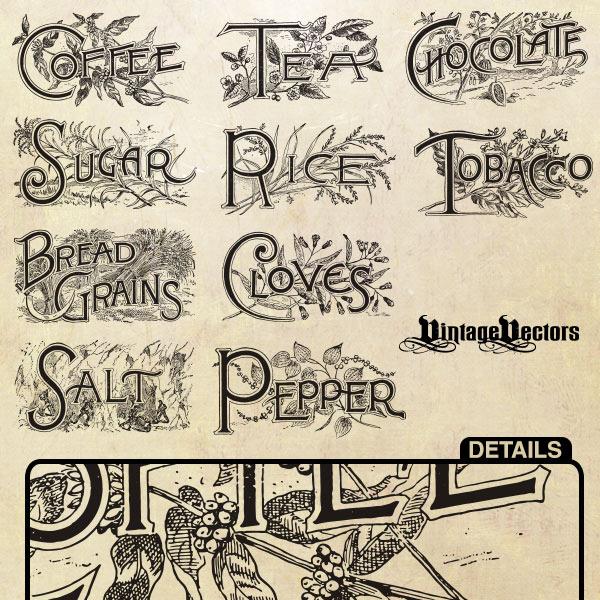vintage food labels vintage vector tobacco tea sugar staples salt rice plants pepper grains free food labels food drawing coffee cloves chocolate art