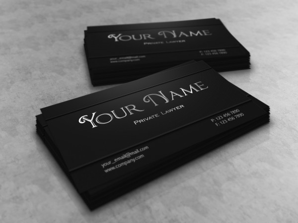 metallic lawyer attorney dark business card black