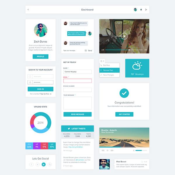 weather widget video player ui set ui kit social simple settings dropdown profile minimal menu set login green free contact