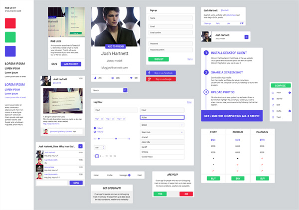ui kit ui elements steps social comments social signup shopping cart rgb profile pricing table lightbox kit free email menu
