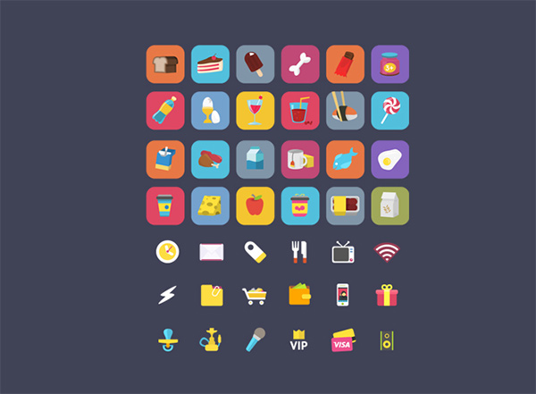 shopping mobile set ios icons free food ecommerce drinks dairy beverages bakery