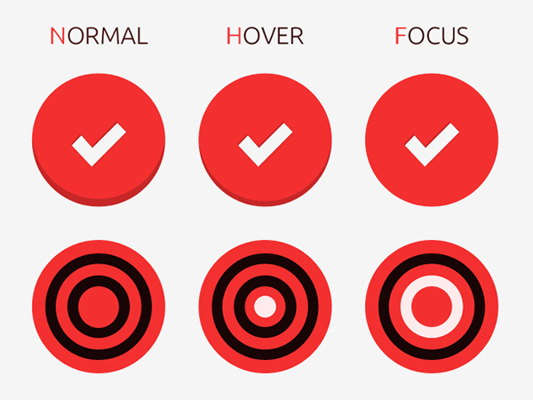 target icons steps red round icons photography lens hover free focus camera