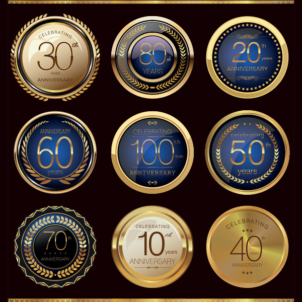 wreath round metal luxury label gold glass set free badges award anniversary