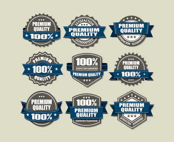 vintage vector ribbon quality premium labels guarantee free banners badges