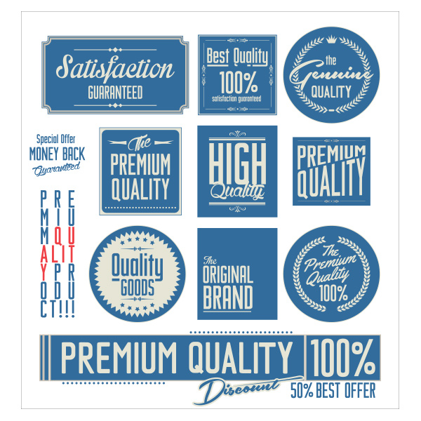 vintage quality premium set logotypes logos labels free blue