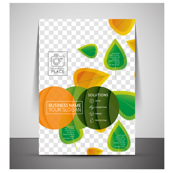 vector print stationary organic nature leaves free flyer cover cover corporate business brochure
