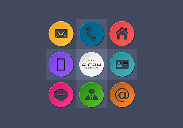 vector set round phone mobile message icon mail icons file contact circle @