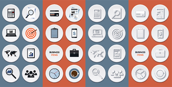 world white set round pack office money meetings icons free flat finance icon credit card computer circle calculator business