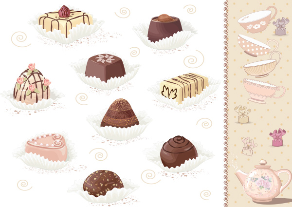 vector teapot tea sweets gift free chocolates card background candy