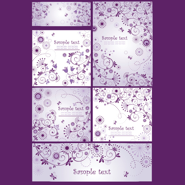 vector purple hearts free flowers banners floral delicate dainty card background