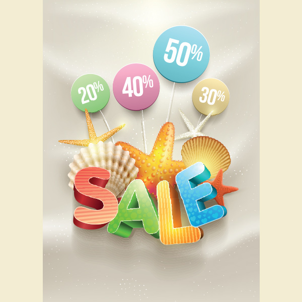 vector background summer sale summer signs seashells sale poster free discounts beach