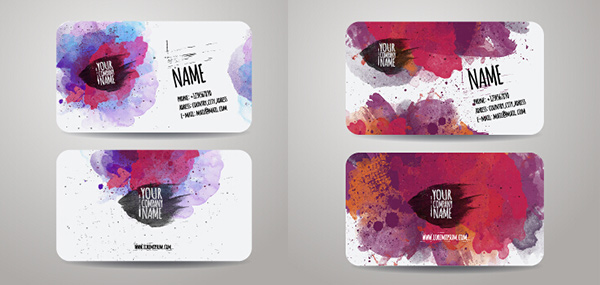 watercolor vector presentation identity grunge free colorful card calling business cards abstract set