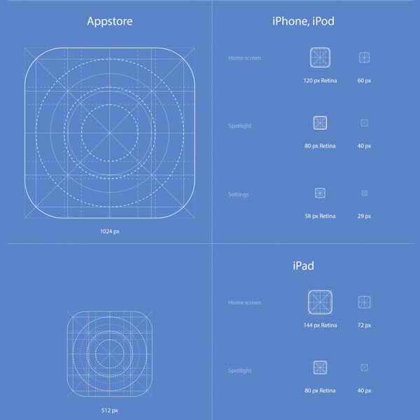 Full IOS 7 App Icons Template Set Ai PSD