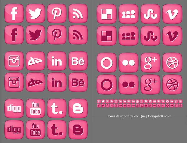 ui elements social icons social set rounded png pink interface icons free download free download