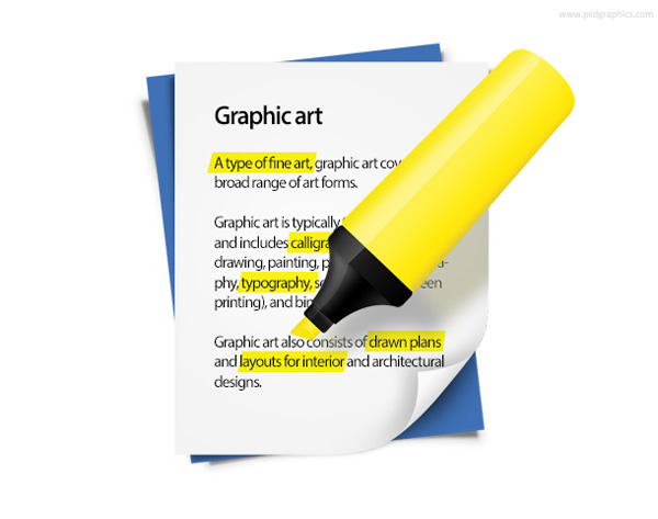 yellow ui elements text psd pen page interface icon highlighter highlighted text free download free download