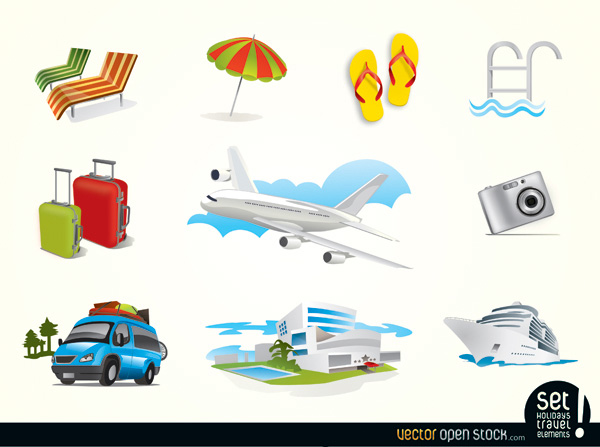 vector vacation umbrella travel icons travel elements sandals jet plane free download free cruise ship chairs camera icons beach airport