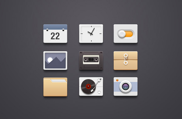 ui elements toggle retro set record player photos icons set icons icon free download free folder file download clock cassette calendar