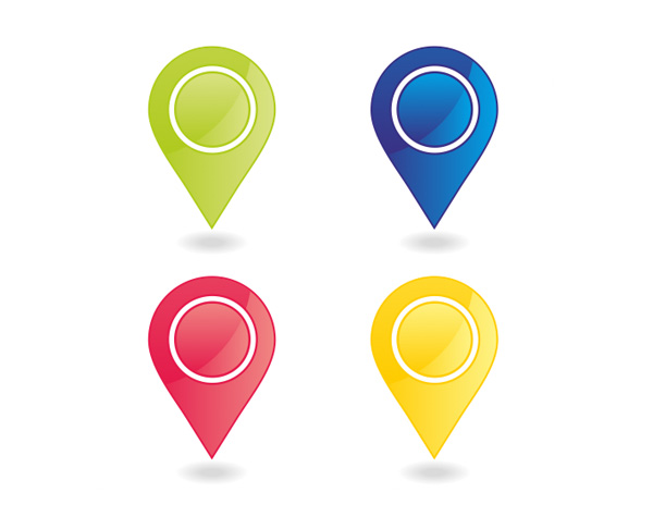 Google Maps Katsuya Locator Map Flag: 4 Colorful Map Marker Pins Set