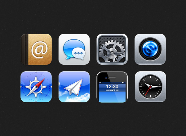 8 Glossy Rounded iOS Icons Set - WeLoveSoLo