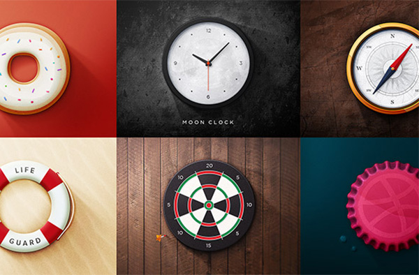 ui elements ui set round realistic life preserver icons icon free download free dribbble donut dart board compass clock bottle cap