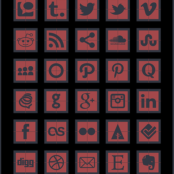 ui elements ui square social icons square social icons set social networking media icons free download free framed