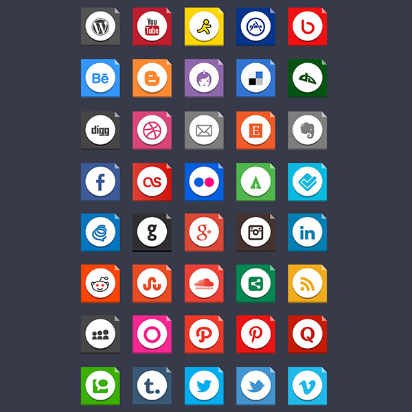 ui elements ui square social icons social pack networking media free download free flaty flat colorful