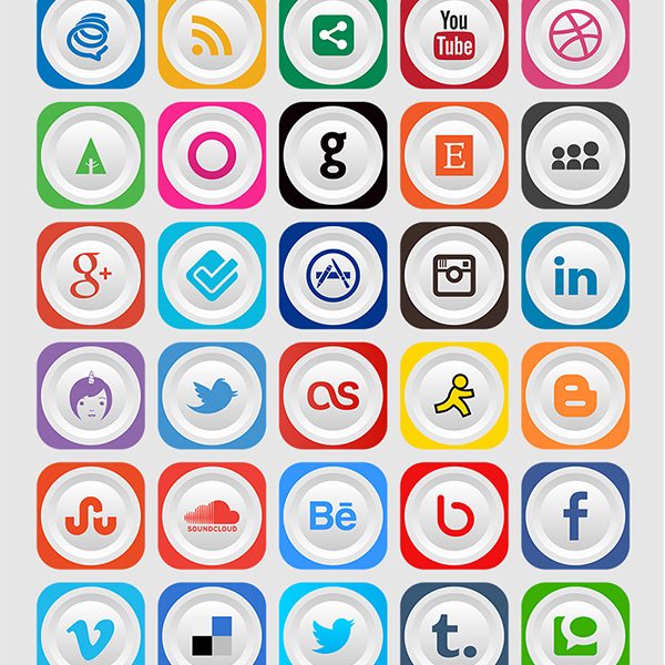 ui elements ui social icons social rounded networking inset icons free download free colorful clean pack