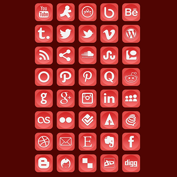 white ui elements ui social icons set social set rounded red png pack networking icons free download free