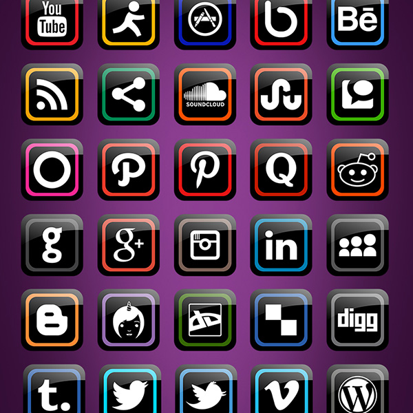 ui elements ui social icons shiny set rounded pack icons glossy free download free black