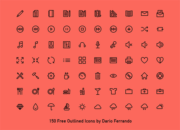 webfont vector ui elements ui stroke simple outline icons outline line icons free download free font