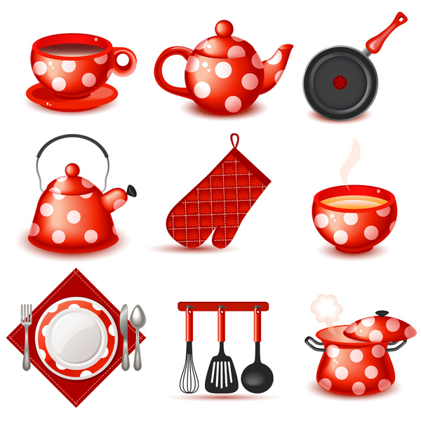 vector utensils teapot teacup set red plate setting kitchen icons free kitchen icons free dotted cute cartoon