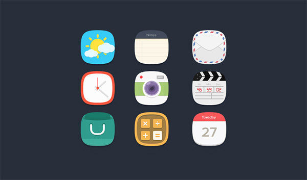 weather shopping set rounded notes mail ios icons flat counter colorful clock camera calendar calculator