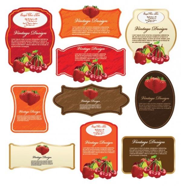 2 Sets Fruit & Vegetable Vector Labels