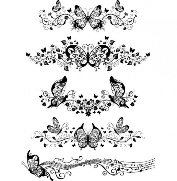 Set Of Black Flower Design Elements From My Big Floral: Decorative Butterfly Floral Vector Elements