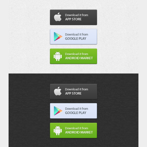 amazing apple android and google buttons set