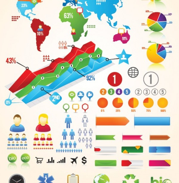 Colorful Vector Infographic Chart Buttons Labels Welovesolo