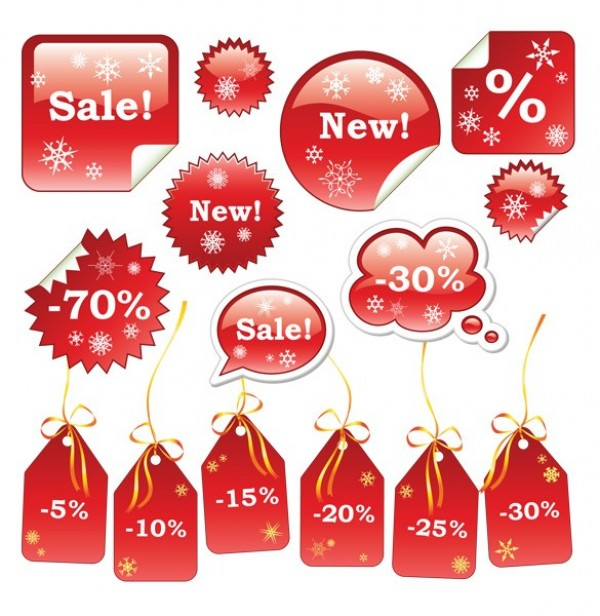 15 Red Christmas Sale Discount Tags Set - WeLoveSoLo