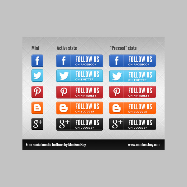 web unique ui elements ui stylish states social icons set social buttons set social set rectangle quality psd png original new networking modern interface icons hi-res HD fresh free download free Follow Us elements download detailed design creative clean buttons