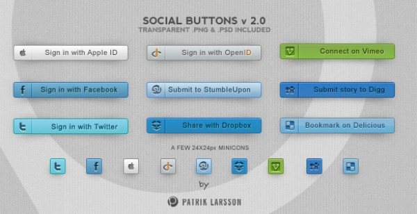 vimeo twitter tweet Subscribe social media social buttons small psd Photoshop OpenID minicons mini icons hq high quality HD free psd free downloads Facebook buttons big apple