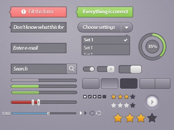 web unique ui set ui kit ui elements ui toggles switches stylish star rating sliders search field quality psd original new modern kit interface hi-res HD fresh free download free elements download detailed design creative clean buttons