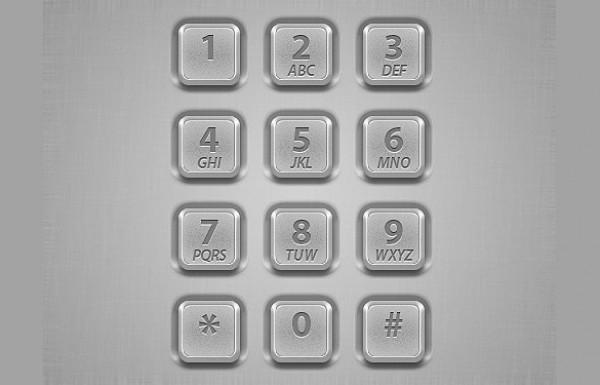 Silver Metal Dialpad Buttons Interface PSD - WeLoveSoLo