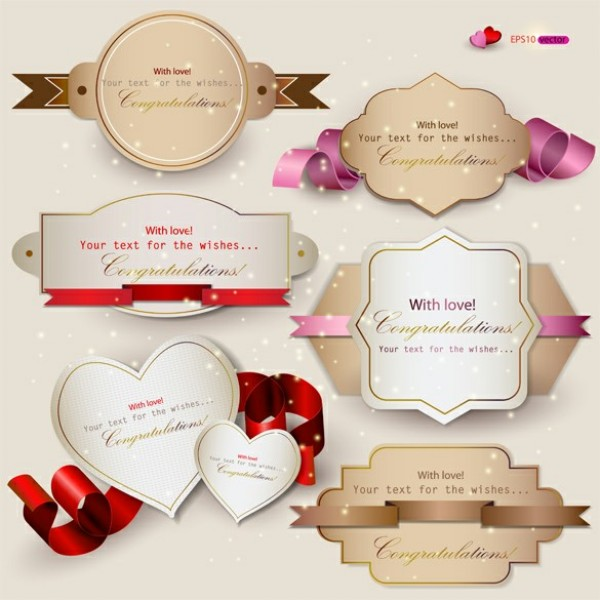 6 Decorative Gift Card Labels Vector Set Welovesolo