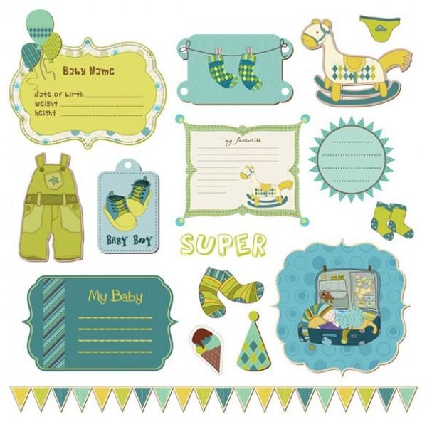 Sweet Baby Scrapbook Labels Vector Set Welovesolo