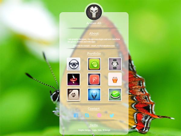 ui transparent screen profile portfolio mobile