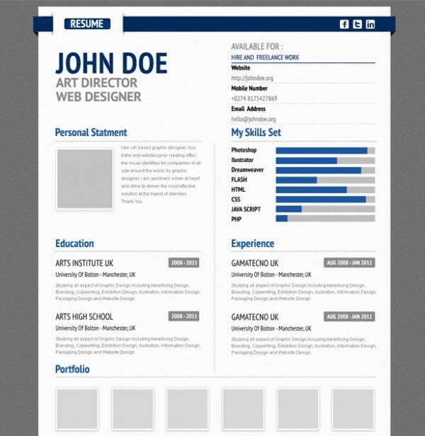 professional aurel blue cv resume form psd welovesolo. Black Bedroom Furniture Sets. Home Design Ideas