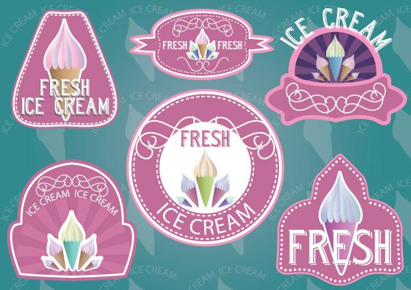 vintage vector retro logotypes logos labels icecream ice cream cone ice cream free