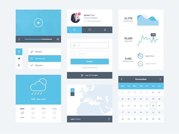 weather widget video player ui set ui kit social profile map login kit graphs free flat calendar blue