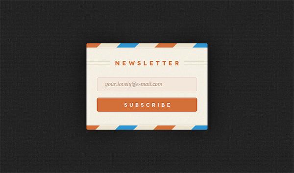Subscribe signup sign up retro register orange newsletter signup form newsletter free form envelope airmail