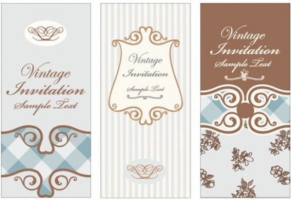 3 vintage scroll pattern vector invitations welovesolo web vintage vector unique ui elements stylish scroll retro quality quaint pattern original old fashioned new stopboris Image collections