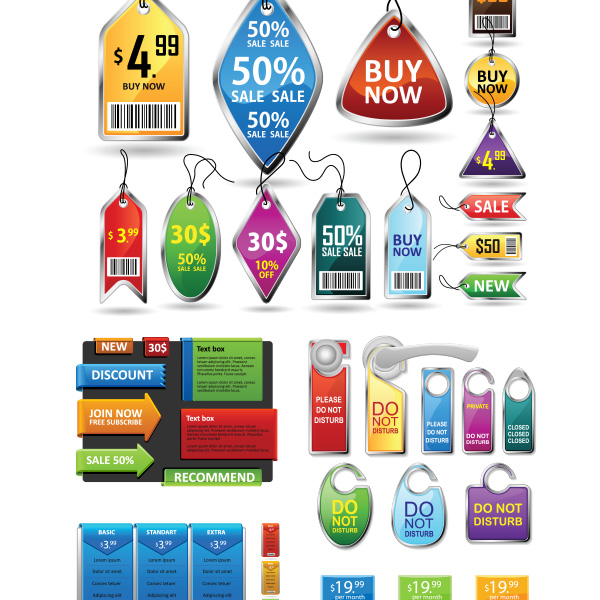 Set Of Christmas Promotion Vectors: 36 Promotional Price Tags & Labels Vector Pack